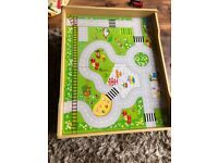 Wooden train activity table and accessories