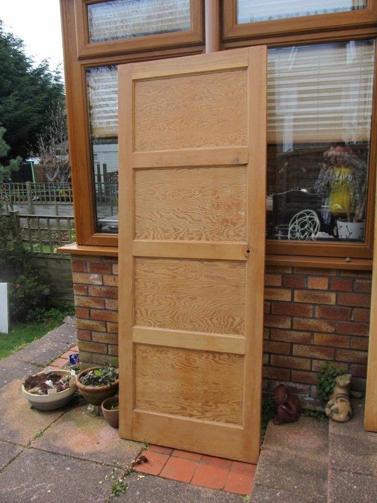 3 1930s40s Stripped 4 Panel Internal Doors Douglas Fir In