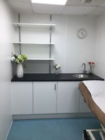Treatment/ therapy room in busy aesthetic practise. Suitable for a variety of professions.