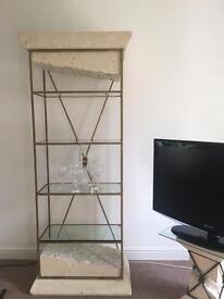 Italian stone marble style glass shelve wall unit display cabinet
