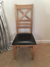 8 Solid oak and leather dining chairs