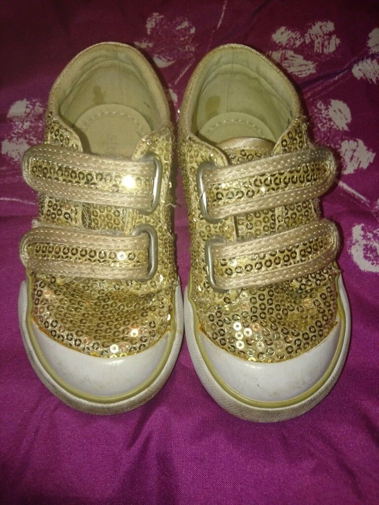 Baby Girl, Sequin/Glitter Sparkle Trainers Bundle of Three, size 5 & 6, Gold & Navy