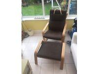 IKEA oak poang chair & footstool