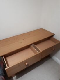 Sold pine chest of drawers very few marks on them and quite deep drawers. 6 drawers in total