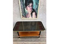Vintage Mid Century Glass Top Wooden Coffee Table