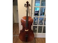 Beautiful 3/4 size cello with soft case + bow