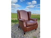 Beautiful Chesterfield Brown Leather Laura Ashley Southwold Reclining Chair
