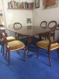 Large victorian dinning table with 6 chairs. HW 150 cm by 110 cm £400 ONO
