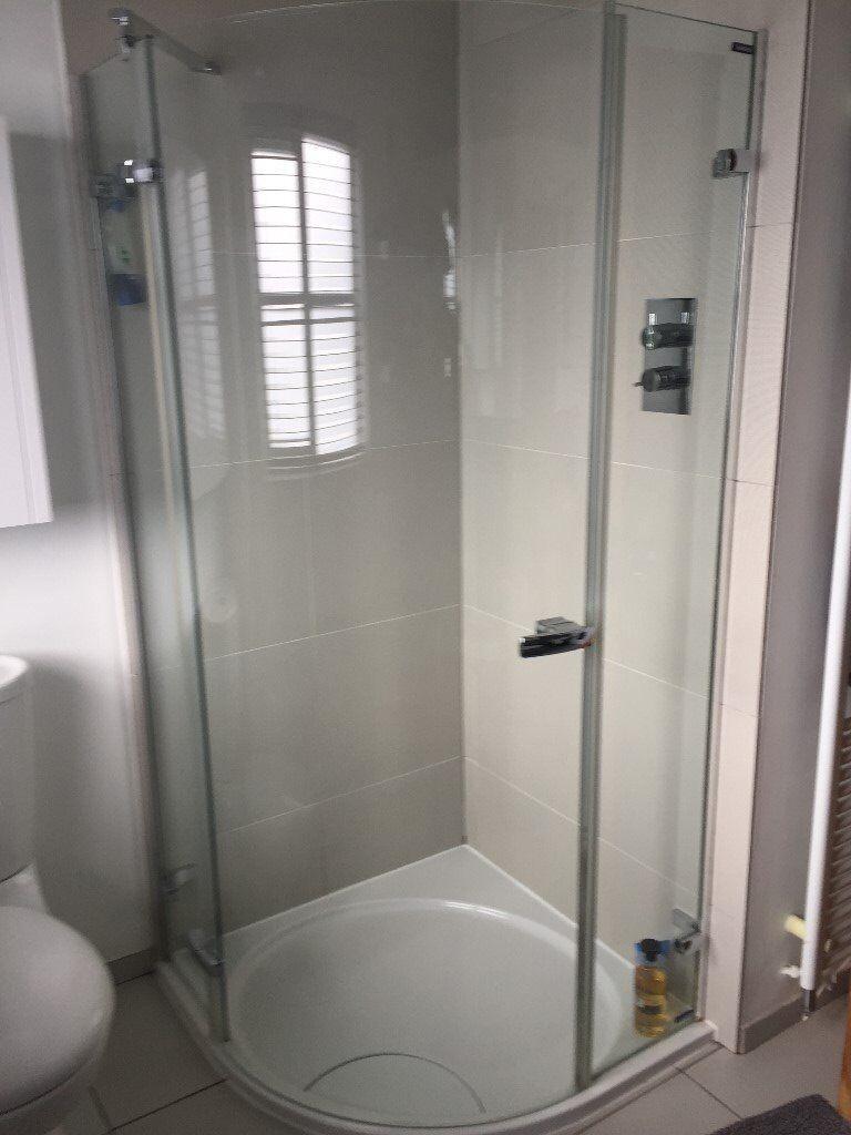 Showerlux Glass Shower Enclosure, Shower Tray and Rainwater Shower ...