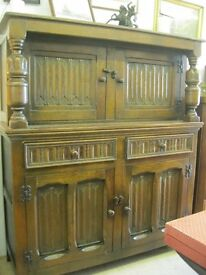 VINTAGE SOLID & STURDY ELM 'COURT' CABINET.TOP DETACHABLE. CABINET OVER DRAWERS OVER CABINET.DELIVER