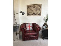 Oxblood Chesterfield club armchair . Can deliver