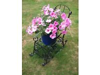Small Wrought Iron Garden Rocking Chair Plant Display