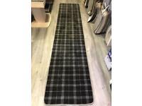Grey tartan carpet hall runner