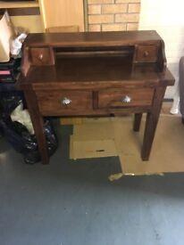 Bureau style mahogany console table