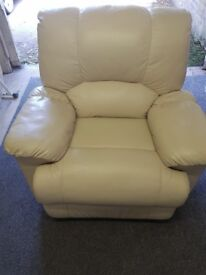 Cream Leather fully reclining Armchair