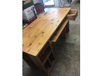 Solid pine computer desk table
