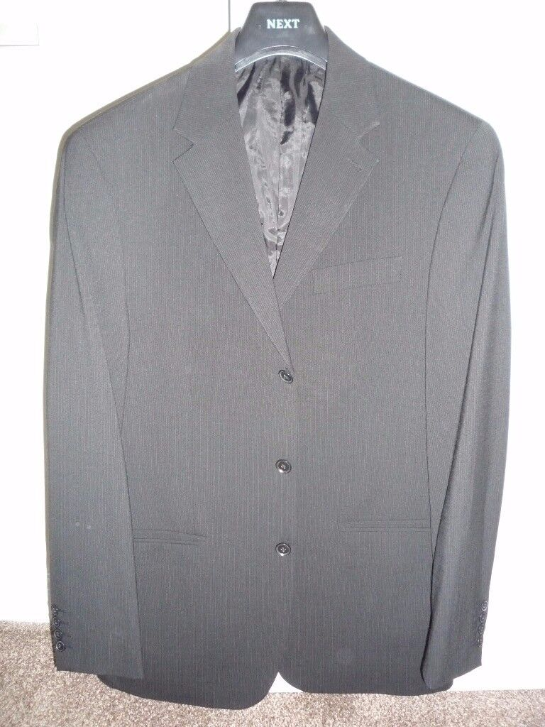 Men's 2 piece suit from Next - Black suit with fine white lines ...