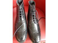 Mens Shoes - Size 11 Black Leather Brogue Ankle Boots