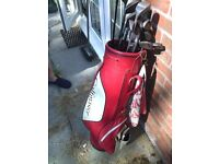 Golf clubs incl bag, trolley, putter and metal woods