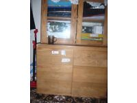 pine 9 draw cabinet with top 2 door glass cabinet