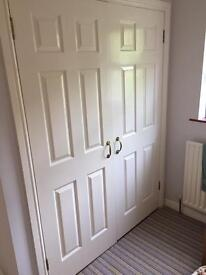 Double 6 panel doors inc handles and hinges