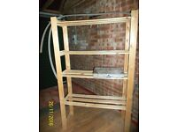Free standing wooden shelving unit