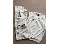 Cricket whites, trousers, t-shirt and pull over Slazenger