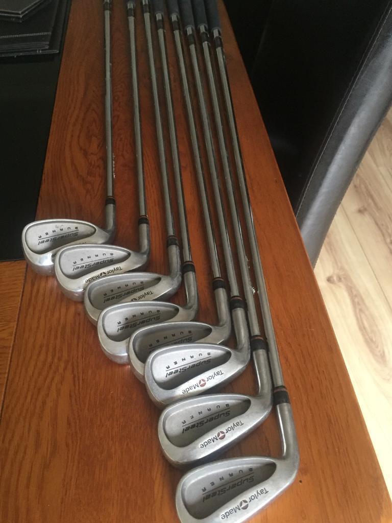 Set of Taylor Made Burner supersteel golf irons left handed