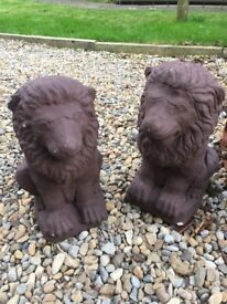 Two small Concrete Lions