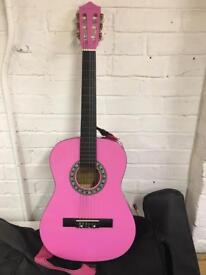 Kids Pink Guitar With Case