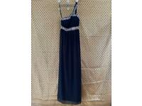 Woman's Size 8 Black And Jewelled Maxi Dress