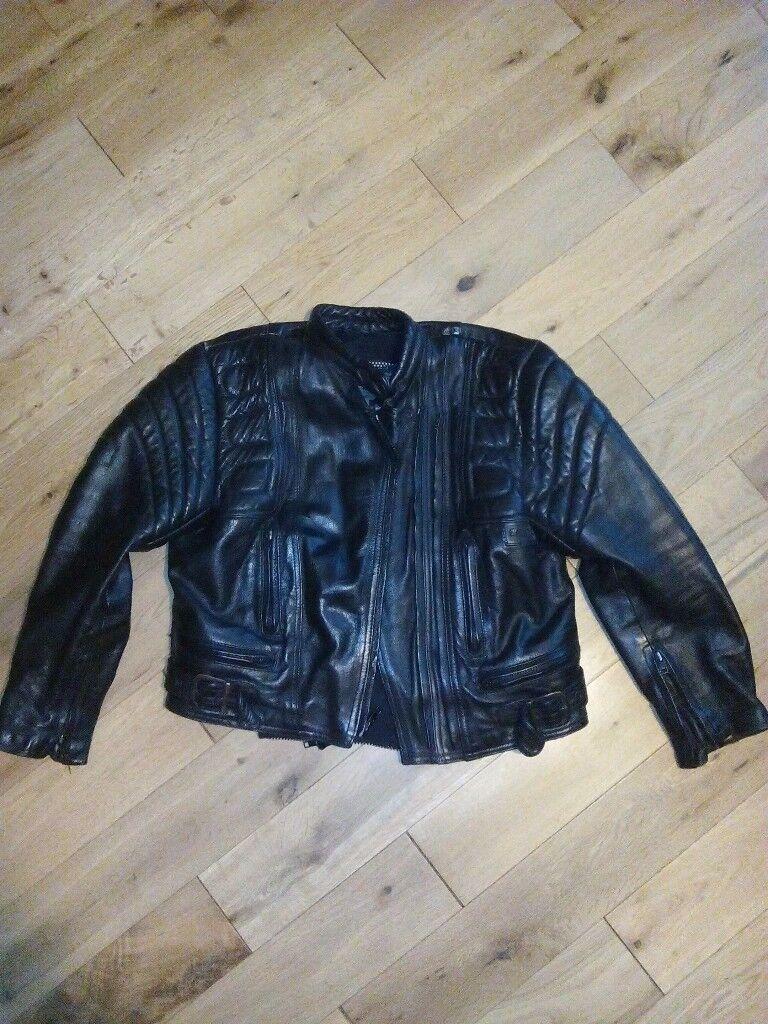 Black leather ladies motorcycle jacket size 12