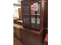 [SLC1/261] Display cabinet, leaded panels, dk wood effect laminate W 83cm x B 44cm x H 187cm