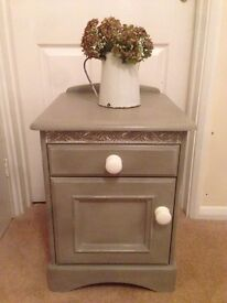 Shabby chic grey painted bedside table