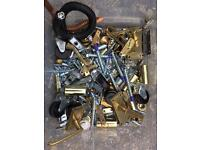 Assorted DIY parts - Doorknobs, Handles, Bolts, Hinges, Mountings, Brass, Fixings, Fittings, Castors