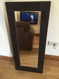 Large long Brown faux leather mirror