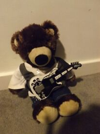 Build a bear bear, outfit and guitar