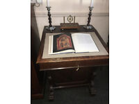 Charming Antique Carved Solid Oak Lockable Davenport Captain's Ship Writing Desk with Hidden Drawers