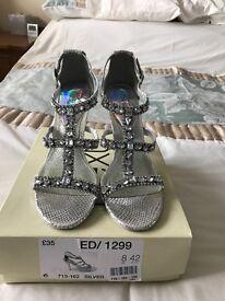 Silver diamanté shoes