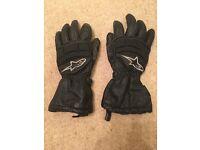 Alpine Stars leather waterproof motorbike gloves - size M / 9