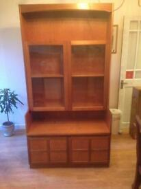 Solid wood display cabinet with light