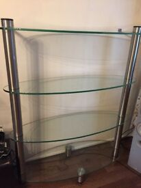 3 glass shelves display unit x2