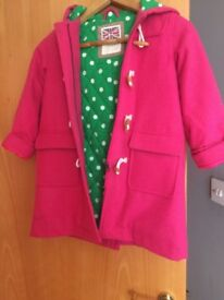 Boden pink duffle coat age 6-7