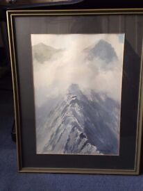 Signed watercolour print of Striding Edge, Lake District By E. Greig Hall