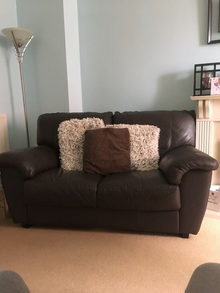 2 Dark chocolate brown faux leather 2 seater sofas