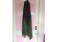 Scarf/shawl, multi colour with paisley pattern