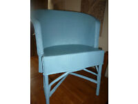 Vintage Wicker Cane Lloyd Loom Style Blue CHAIR Bedroom Conservatory Studio Beachhut Craft Room