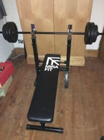 Weightlifting bench press bench with 35kg of plates - £60 OBO