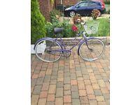 ladys raliegh 1980s retro bike with basket