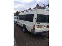 White 17 seater Ford Transit minibus 05